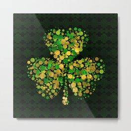 Decorative Irish Shamrock -Clover Gold and Green Metal Print