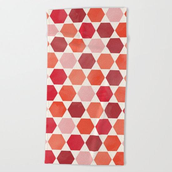 Red Tiles Beach Towel