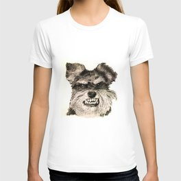 SCHNAUZER PORTRAIT. IMAGE IS MADE ENTIRELY OF DOTS. T-shirt