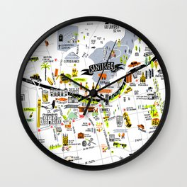 Santiago Map Wall Clock