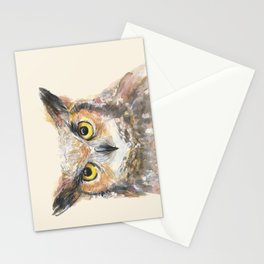 Owl Watercolor Great Horned Owl Painting Stationery Cards