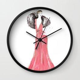 Fashion illustration 1920's dress in pink Wall Clock