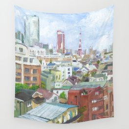 A view with Tokyo tower and Roppongi Hills Wall Tapestry