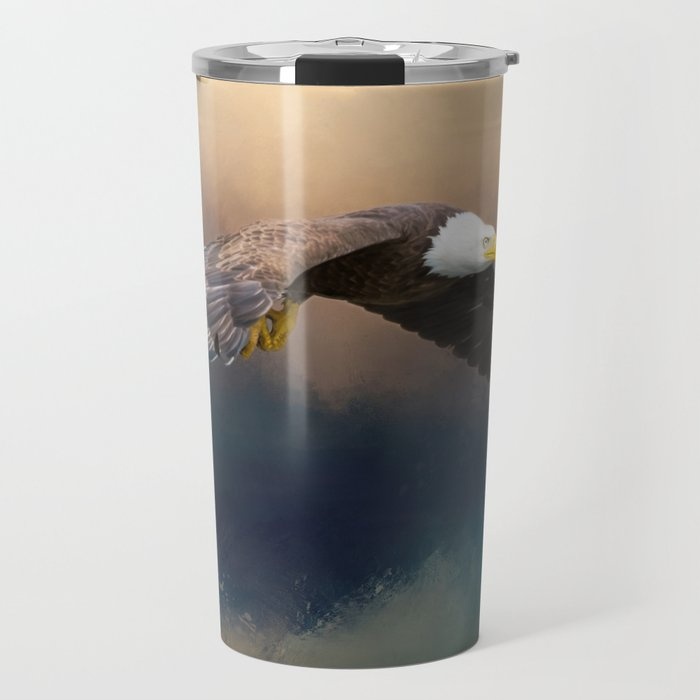 Painting flying american bald eagle Travel Mug