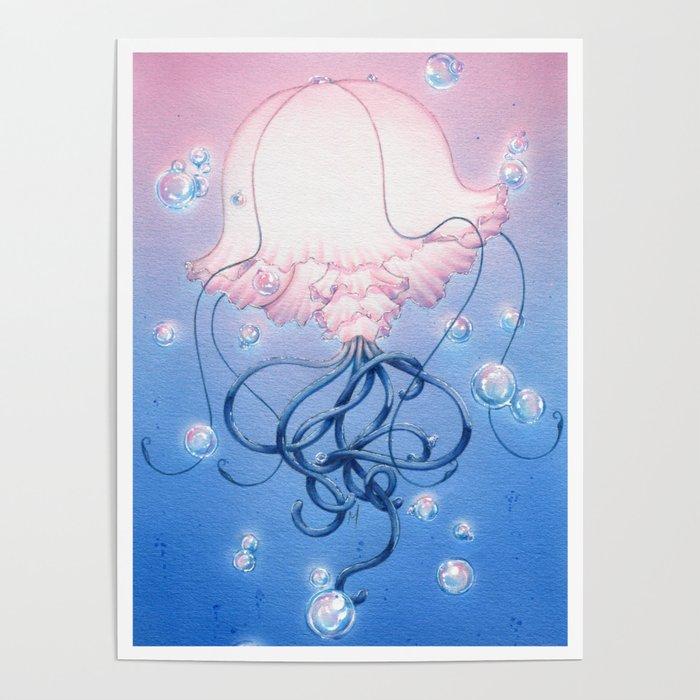 Glowing Jellyfish Poster