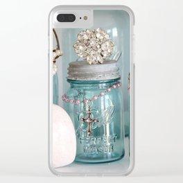 Vintage Mason Jars Shabby Chic Cottage Jeweled Decor Clear iPhone Case