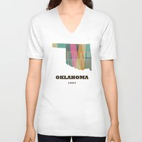 oklahoma V-neck T-shirts featuring Oklahoma state map modern  by bri.buckley