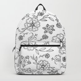Floral pattern black and white 1 Backpack