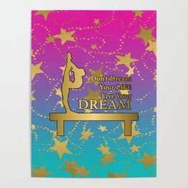 Gymnastics Live Your Dream with Pink to Blue Gradient  and Gold Stars Background Poster