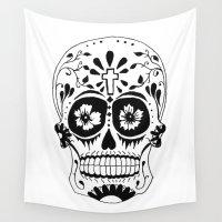 dia de los muertos Wall Tapestries featuring Dia de los muertos by Katie Rosealea