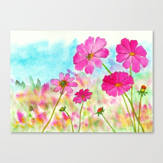 Symphony In Pink, Watercolor Wildflowers Canvas Print