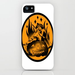 Witch Tattoo style pinup iPhone Case