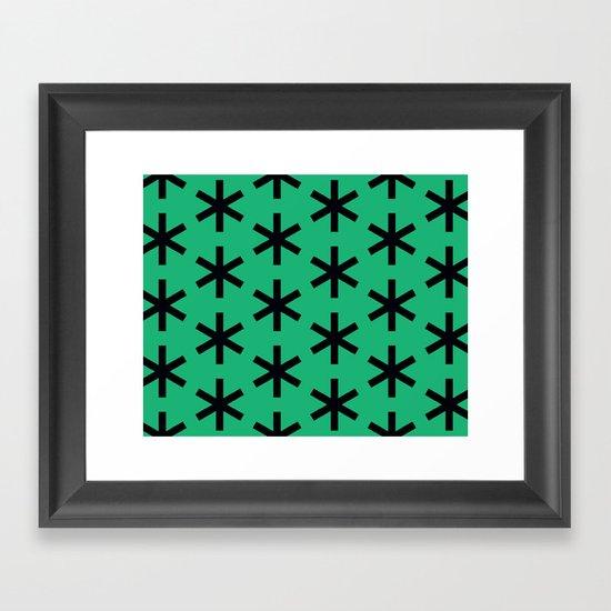 Vondel Black on Green Pattern Framed Art Print