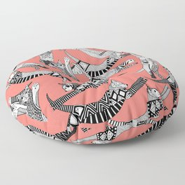 cat party blush coral Floor Pillow