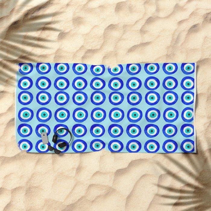 Evil Eye Amulet Talisman - on turquoise Beach Towel