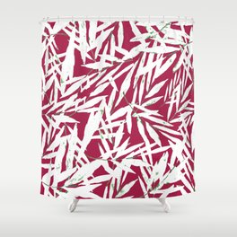 white leave in red background Shower Curtain