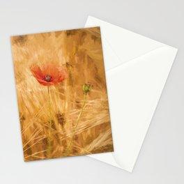 Fiery poppy in a golden cornfield - Poppies Flower Flowers Stationery Cards