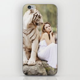 White Bengal Tiger With Japanese Woman iPhone Skin