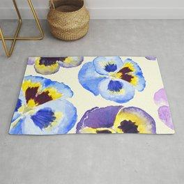pansies pattern watercolor painting Rug