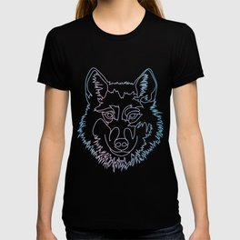 Vector wolf in one line T-shirt