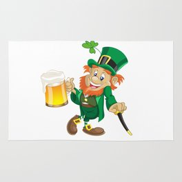 St Patrick leprechaun with cup of beer and cane Rug