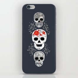 Celebracion de Gris_Calaveras Sugar Skulls line_RobinPickens iPhone Skin