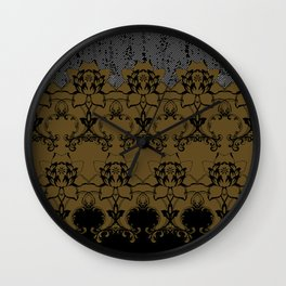 Damask Texture Border in Browns and Black Wall Clock