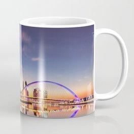 Beautiful Dubai Water Canal Bridge And City Skyline At Romantic Evening Red Reflection Ultra HD Coffee Mug
