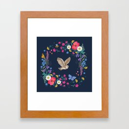 Owl and Wildflowers Framed Art Print