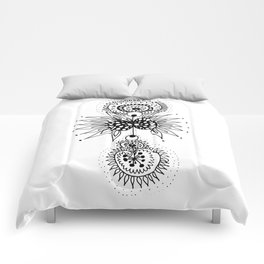 Abstract Black and White Organic Flowery Doodle Comforters