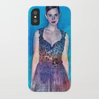 emma watson iPhone & iPod Cases featuring Emma Watson - Blue by André Joseph Martin