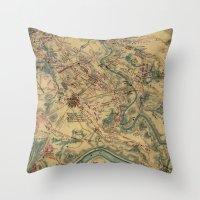 battlefield Throw Pillows featuring Vintage Antietam Battlefield Map (1862) by BravuraMedia