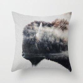 Wild West Bison Throw Pillow