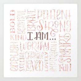 Pink Marbled Hand Lettered Positive Affirmations Art Print