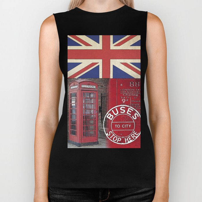Great Britain London Union Jack England Biker Tank