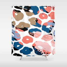 Pastel pink coral navy blue hand painted abstract animal print Shower Curtain