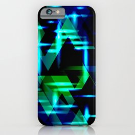 Green and blue highlights on an ultramarine blue metal background. iPhone Case