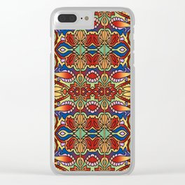 Oriental Watercolor Pattern Blue Red 1 Clear iPhone Case
