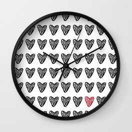 CUTE HEARTS PATTERN I Wall Clock
