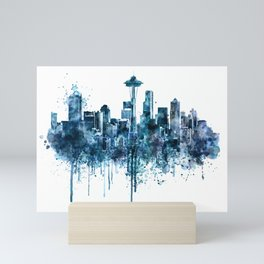 Seattle Skyline monochrome watercolor Mini Art Print
