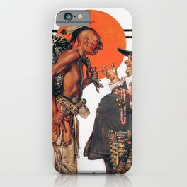 Joseph Christian Leyendecker - Thanksgiving, Indians To Negotiate With Pilgrim iPhone Case