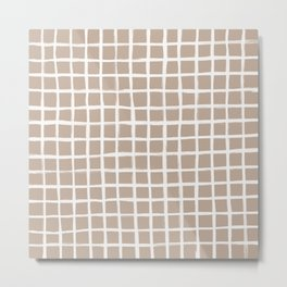 Strokes Grid - Off White on Nude Metal Print
