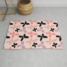 Colorful floral Cut Out Flowers and Leaves fabric Pink Rug