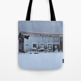 Snow Caked Barn Tote Bag
