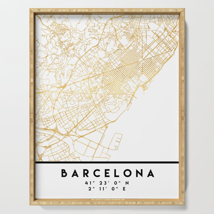 Barcelona In Spain Map.Barcelona Spain City Street Map Art Serving Tray By Deificusart