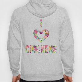 I Love Chickens Floral Pattern Heart Hoody