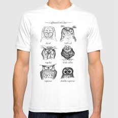 Caffeinated Owls MEDIUM Mens Fitted Tee White