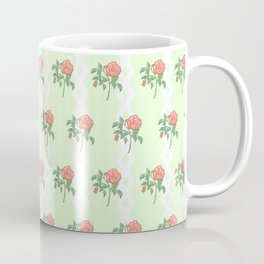 Stem Rose Watercolor Pattern Mint Coffee Mug