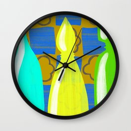Moroccan Bottles with mustard wall Wall Clock