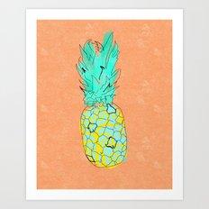 Neon Pineapple in Orange Art Print